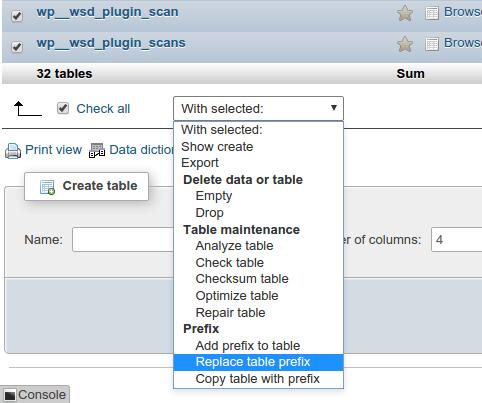 cambiare il prefisso delle tabelle di WordPress